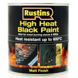 Rustins High Heat Matt Black Paint - 250ml