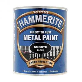 Hammerite Direct To Rust Metal Paint - Smooth Black 750ml