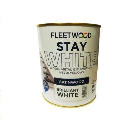 Fleetwood Stay White Satinwood Paint - Brilliant White 750ml
