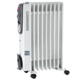 Portable 9 Fin 2000w Electric Oil Filled Radiator Heater With Timer & Thermostat