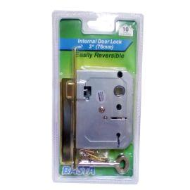 "Basta 2 Lever Internal Door Lock - Polished Brass 3"" (76mm)"