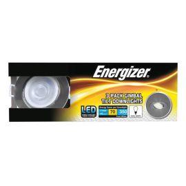 Energizer 5W Brushed Chrome Gimbal Tilt Cool White Downlights - Pack Of 3