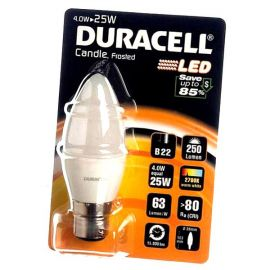 Duracell 4W LED Frosted Candle B22/ BC Light Bulb