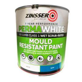 Zinsser Permawhite Mould Resistant Paint - White Satin 2.5L