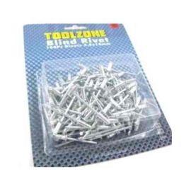 Toolzone 100 Piece 4.0mm X 10mm Pop Rivets