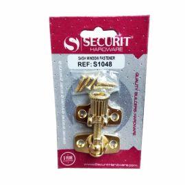 Securit Brass Plated Sash Window Fastener - 42mm